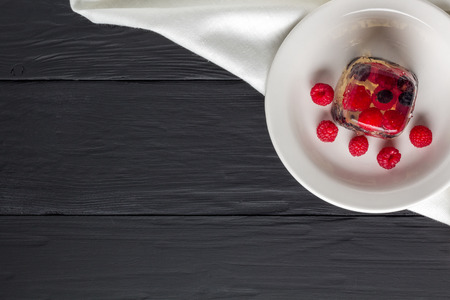 pellucid: Berry jelly on a plate top view. Copyspace