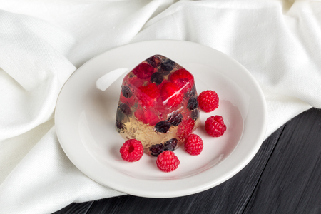 raspberry jelly: Berry jelly of raspberry and shadberry. Closeup