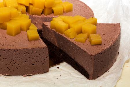 cut piece cheesecake cheese chocolate