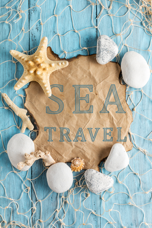 lashing: Text: Sea travel. Written on old paper. Flat lay