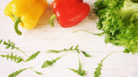 bell pepper, green salad and arugula, top view Stock Photo