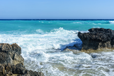 Waves beat on the rocky shore, Mediterranean Sea. Cyprus