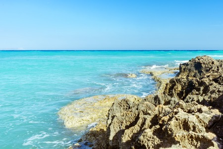 Rocky beach in Ayia Napa overlooking the Mediterranean Sea
