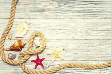 Background with starfish and marine rope Standard-Bild