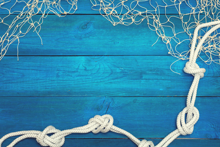 Background with maritime network and marine rope
