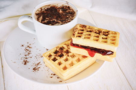 waffles with jam and cup cacao