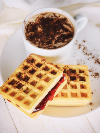 waffles with jam and cup cacao Stok Fotoğraf - 102961440