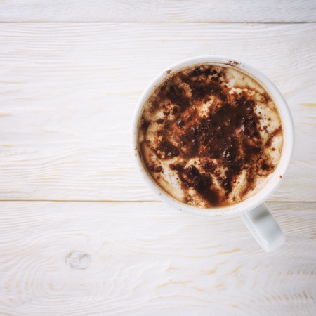 Cup of cocoa and place for text. Top view Standard-Bild - 102990793