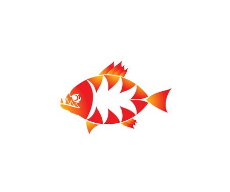 Orange abstract piranha fish logo