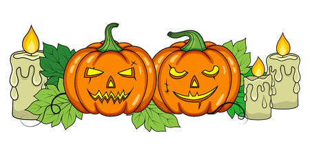 Halloween pumpkins on a white background Illustration