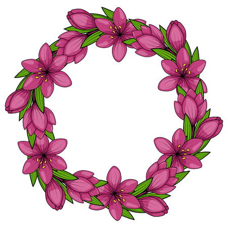 crocus: Spring flowers. Wreath of crocus