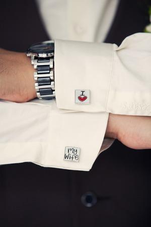 cufflinks: cufflinks groom with the words I Love My Wife