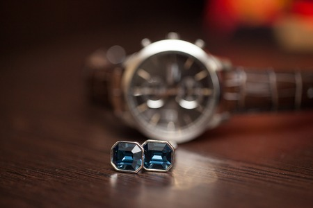 cuff links: blue cuff links of the groom and watch