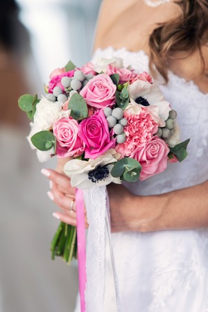 bridal bouquet: gentle pink bridal bouquet with tapes