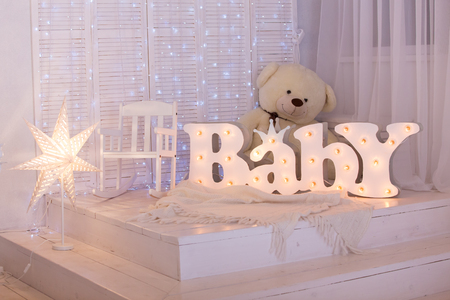 light, beautiful nursery with a teddy bear Reklamní fotografie