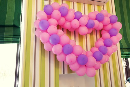 love symbols: Group of pink heart balloons Stock Photo