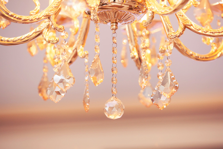 crystal chandelier: beautiful crystal chandelier on a ceiling