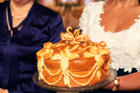 spliced: Beautiful baked loaf. Traditional food at slavic weddings