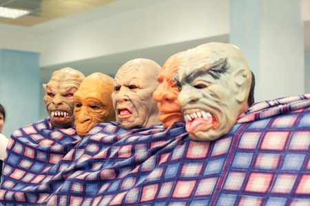 terrible: terrible masks of monsters on faces of people