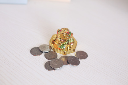 curio: Monetary frog and coins of the Russian Federation.
