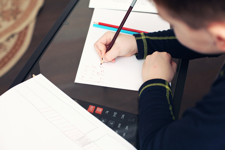 additional training: Boy does homework on a table at home Stock Photo
