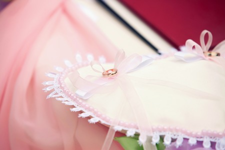 pink satin: Wedding rings on pink satin pillow close-up