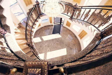 expensive: Beautiful spiral staircase. Spiral. Expensive royal interior Stock Photo