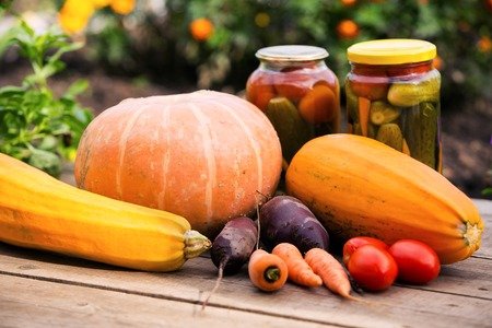 autumn preserves and fresh organic vegetables in kitchen garden Banco de Imagens