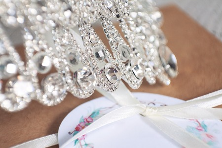 coronet: jewels on a diadem close up Stock Photo