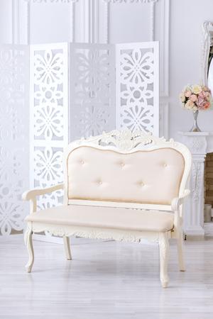 Luxury beige sofa in light interior