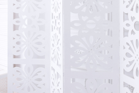 a interior subject. A white screen with patterns