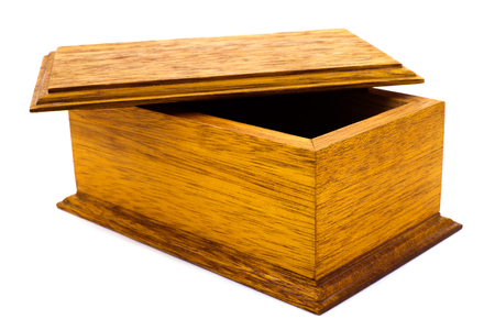 brownish: Open wooden box mahogany on a white background