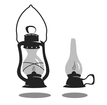 Two isolated oil lanterns.