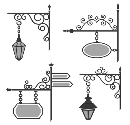 Set von Hochzeitsthema dekorative Straße geschmiedete Laternen und Zeichen. Standard-Bild - 64302257