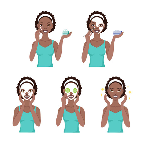 Attractive pretty young black woman dressed in casual t-shirt care her face and skin, using cream and applying natural mask. Facial treatment procedures, african american, healthy lifestyle. Vectores