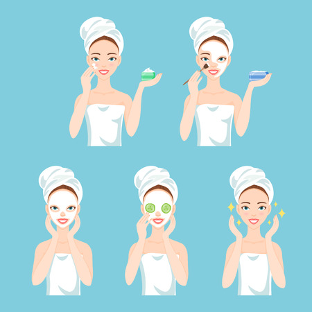 Attractive young woman care her face and skin, using cream and applying natural mask. Facial treatment procedures.