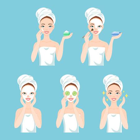 Attraktive junge Frau kümmert ihr Gesicht und die Haut, mit Sahne und Anwendung von natürlichen Maske. Gesichtsbehandlung Verfahren. Standard-Bild - 64302268