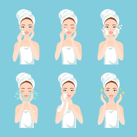 Attraktive junge Frau mit einem Handtuch um den Kopf und Körper zu entfernen Make-up, putzen, waschen und ihr Gesicht mit Schwamm kümmern. Gesichtsbehandlung Verfahren. Standard-Bild - 64302266