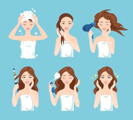 Attractive jeune lavage femme, les soins et le style de ses cheveux. les procédures de traitement des cheveux. Vecteurs