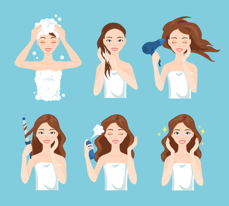 hair shampoo: Attractive young woman wash, care and style her hair. Hair treatment procedures. Illustration