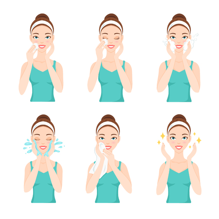 face wash: Attractive pretty young woman dressed in casual t-shirt remove make-up, clean, wash up and care her face with sponge. Facial treatment procedures, skincare, healthy lifestyle.