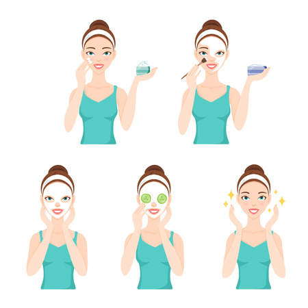 procedures: Attractive pretty young woman dressed in casual t-shirt care her face and skin, using cream and applying natural mask. Facial treatment procedures, skincare, healthy lifestyle.