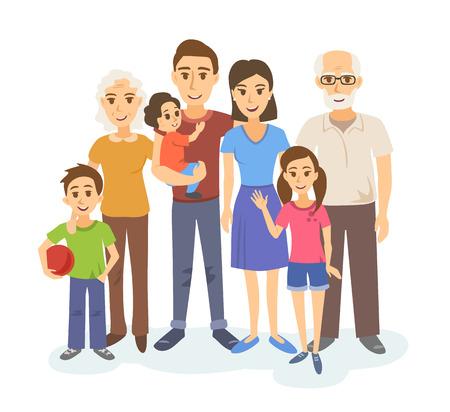 Cartoon Porträt des großen Familie. Mutter, Vater, Großeltern und Kinder sind glücklich zusammen. Vektor-Illustration. Standard-Bild - 64302270