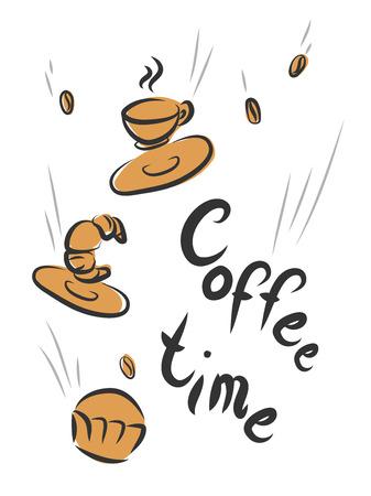 Kaffee-Zeit Retro-Poster mit Bäckerei. Standard-Bild - 64303013