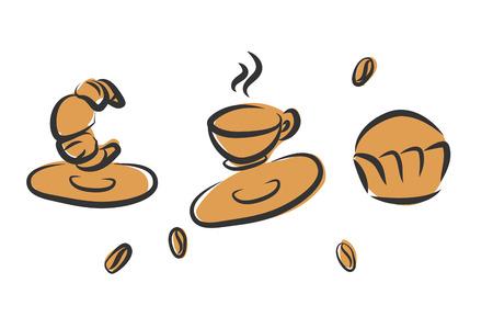 Kaffee-Zeit Retro-Poster mit Bäckerei. Standard-Bild - 64303015