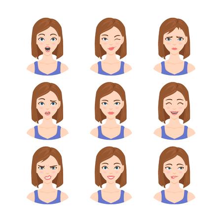 Set von isolierten Illustrationen im Cartoon-Stil der schönen Frau mit verschiedenen Emotionen und Mimik. Standard-Bild - 64303016