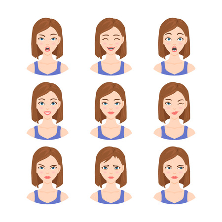 shouting: Set of isolated illustrations in cartoon style of beautiful woman with different emotions and facial expressions.