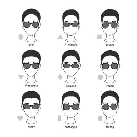 Set von Silhouetten verschiedener Arten von Sonnenbrillen. Faces Formen zu Brille Frames Vergleich Schema. Standard-Bild - 64303019