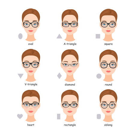 Set of various types of spectacle eyeglasses. Faces shapes to glasses frames comparison scheme. Illustration
