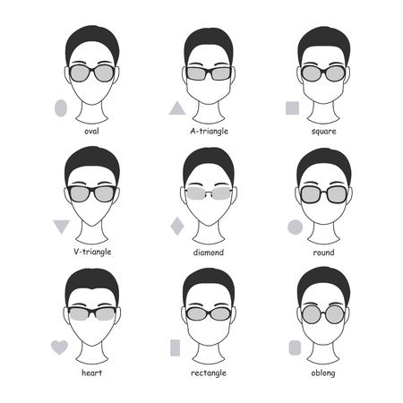 Satz von Silhouetten von verschiedenen Arten von Brillen Brillen. Faces Formen Rahmen Vergleich Schema Brille. Standard-Bild - 64303021